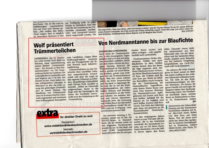 Lesung Florian Wolf Trümmerteilchen